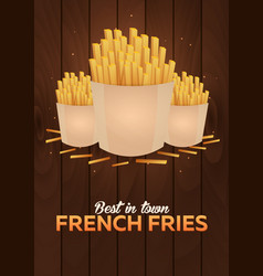 lunch with french fries fast food poster vector image