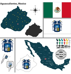 Map of Aguascalientes vector image vector image