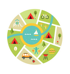Map of campsite traveling camping vector
