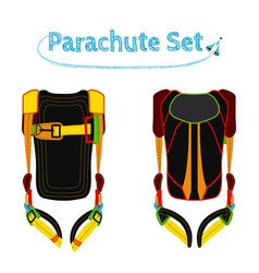 parachute pack bright extreme sport equipment for vector image