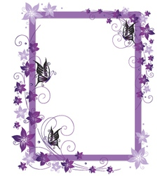 Purple frame flowers vector