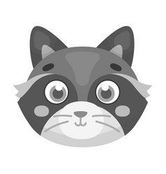 Raccoon muzzle icon in monochrome style isolated vector