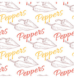 Red hot chili pepper sketch drawing seamless vector