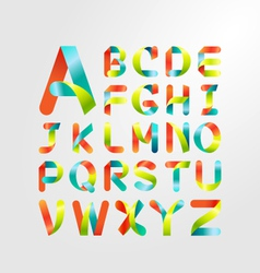 Ribbon alphabet colorful font capital letter a-z vector