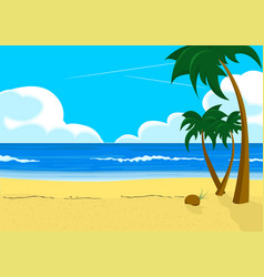 Scenery with tropical beach and palm trees vector