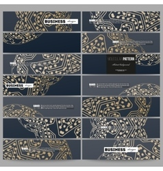 Set of modern banners golden microchip pattern vector