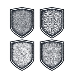 Shield icons set black symbols vector