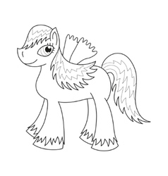 Sly fairy foal with wings coloring book page vector