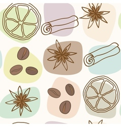 spice and coffee seamless pattern vector image vector image