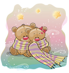 Two cute bears vector