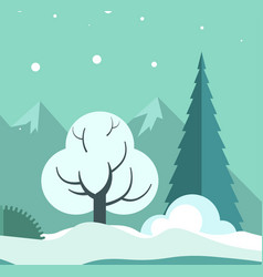 winter landscape with trees and ground in snow vector image vector image