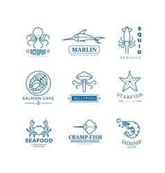 Seafood labels thin line logos emblems vector
