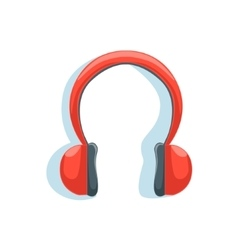 Wireless red headphones for listening to music vector