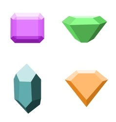 Set of 4 different gemstones diamonds isolated vector