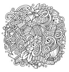 Cartoon cute doodles new year vector
