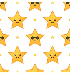 Smiling stars seamless pattern background vector