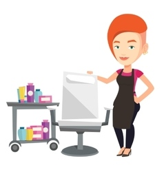 Hairdresser at workplace in barber shop vector