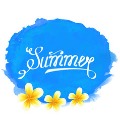 Typographic text summer label with frangipani vector