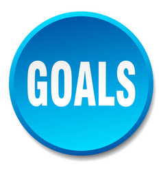 Goals blue round flat isolated push button vector