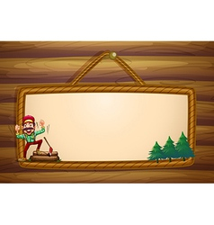 A hanging wooden template with a lumberjack vector