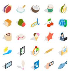 luncheon icons set isometric style vector image