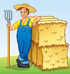 Cartoon farmer with pitchfork and hay bails vector