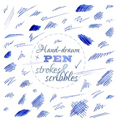 Set of hand-drawn pen strokes and scribbles vector