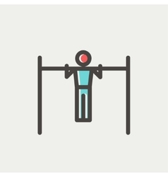 Pull up exercise in bar thin line icon vector