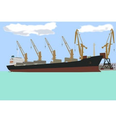 Ship at the pier vector
