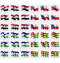 Iraq czech republic lesothe togo set of 36 flags vector