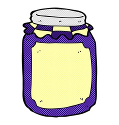 Comic cartoon jar of jam vector