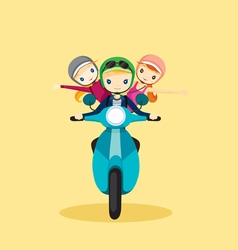 People on motorcycle driving to travel vector
