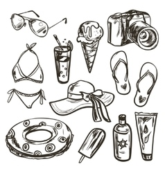 collection of summer elements vector image