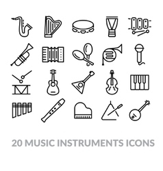Collection of music instruments icons vector
