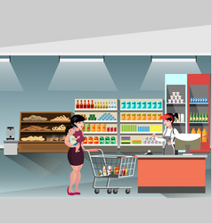 A young cashier woman standing in supermarket vector