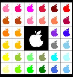 Bite apple sign felt-pen 33 colorful vector