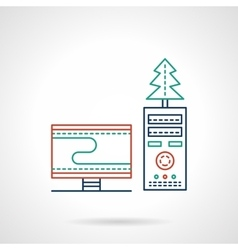 Christmas workplace flat color line icon vector