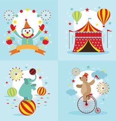 Circus tent clown elephant bear show vector