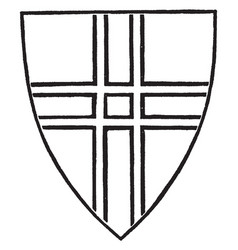 Cross double-parted used as a charge in a coat of vector