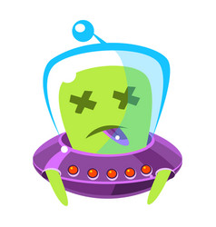 dead alien in a flying saucer cute cartoon vector image