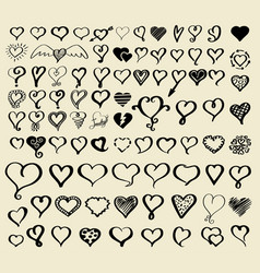 Doodle sketch hearts collection vector