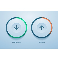 Download and upload buttons with progress bar vector image