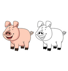 Educational coloring book-pig vector