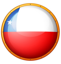 Flag of chile on round badge vector
