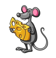 Funny cartoon mouse with cheese vector