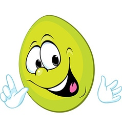 funny green easter egg smiling - vector image vector image