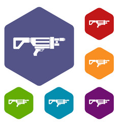 Game gun icons set hexagon vector