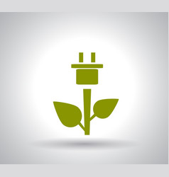 green plug power consumption on white background vector image vector image