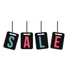 Hanging sale tags icon flat style vector