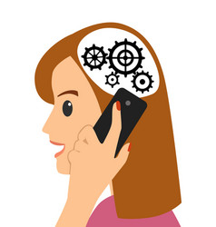Head and gears young woman talking on the phone vector